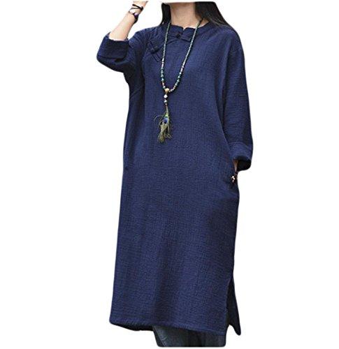 Confortables Femmes Découpées Boucle Décorée De Style Chinois Solide Pattern3 Robe Midi