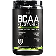 Sascha Fitness BCAA 4:1:1 + Glutamine,HMB,L-Carnitine,HICA   Powerful and Instant Powder Blend with Branched Chain Amino Acids (BCAAs) for Pre, Intra and Post-Workout   Natural Lemon Lime Flavor,350g