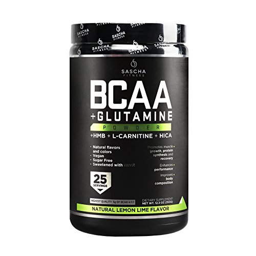 Sascha Fitness BCAA 4:1:1 + Glutamine,HMB,L-Carnitine,HICA | Powerful and Instant Powder Blend with Branched Chain Amino Acids (BCAAs) for Pre, Intra and Post-Workout | Natural Lemon Lime Flavor,350g