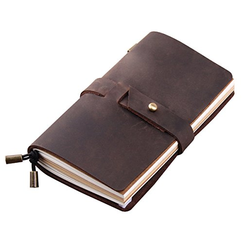 Robrasim Vintage Handmade Refillable Leather Travelers Journals Diary Notebook Notepad for Men Women Diary – Medium Size 17X10cm – Coffee