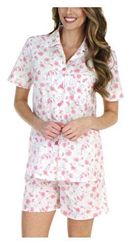 Sleepyheads Women's Sleepwear Cotton Short Sleeve Button-Up Top and Shorts Pajama Set (STCP376SPR-SML)