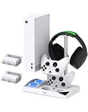 $40 » Cooling Fan Stand for Xbox Series S with 1400mAh Rechargeable Battery Pack, YUANHOT Vertical Charging Station Dock Accessories with Controller Charger Ports, Headset Holder & Cooler System - White