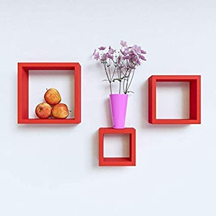 Credenza Floating Wall Rack MDF Designer Nesting Square Shape Wall/Book Shelf for Storage/Hanging Home Decoration Furniture Set of 3 Shelves - Red