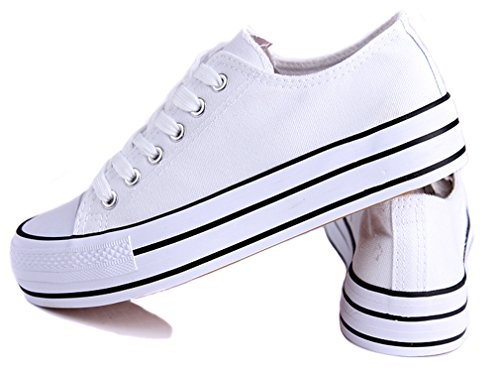 Honeystore Womens Fashion Low-Top Sneakers Platform Flats Lace up Canvas Shoes White-01 ebEbw0