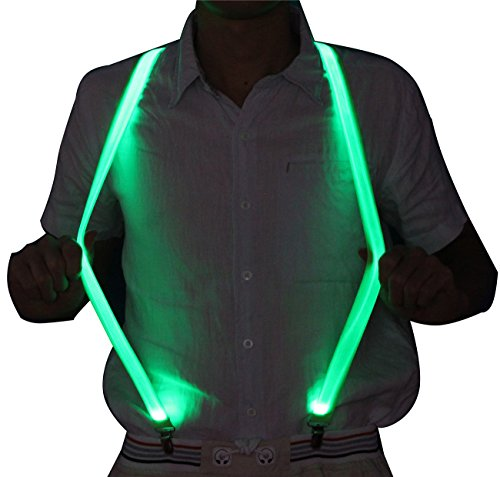 Glowing Light Up Suspenders punk novelty Illumination Reflective Green Tron Led Unisex 3 Strong Clips for Party Dance High Visibility Safety Gear for Running for $<!--$15.99-->
