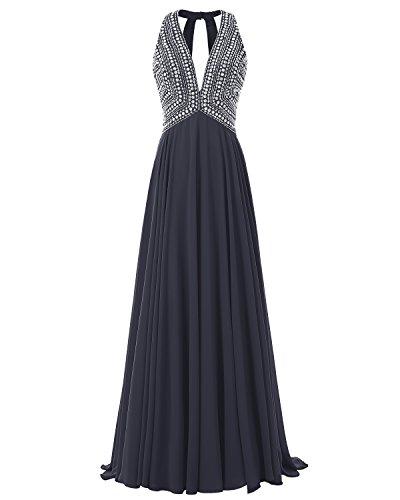 Long Beaded Chiffon Prom 2017 Neck Evening Navy Dress Gown Bridesmay V Formal AqFdxA