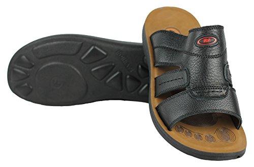 negro Chancletas marrón y en para de para de cuero en negro Pies caminar anchos sandalias playa hombre de deslizamiento TPq6Zw