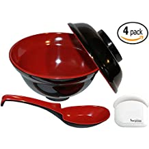 Set of 4 Japanese Rice / Soup Bowls W/lids and Spoon Set - Traditional Black & Red Color, 16 Ounce - Made of Durable Melamine, Dishwasher Safe, Restaurant Quality - Bundled with 1 Refridgerator / Freezer Thermometer
