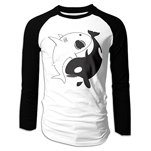 Puppylol Men's Kawaii Yin Yang Shark Long Sleeve Raglan T-Shirts XL
