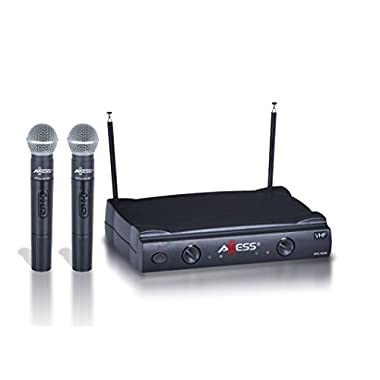 AXESS MPWL1509-BK VHF Channel Long Range Wireless Microphone System with Two Microphones