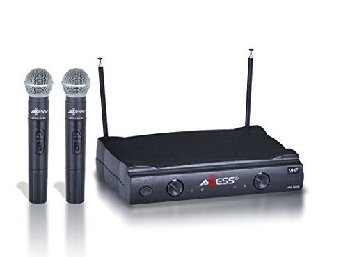 AXESS MPWL1509BK VHF Channel Long Range Wireless Microphone System with Two Microphones