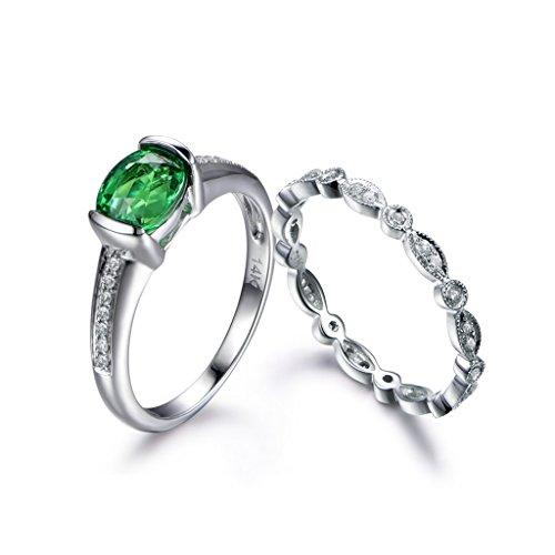 MYRAYGEM-wedding ring sets 5x7mm Oval Green Tsavorite Rings Set,Marquise Full Eternity Diamond Matching Band Anniversary Set Vintage