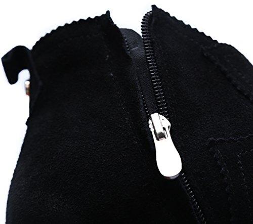 Nubuck Noir Hooh À Éclair Bottes Pompon Fermeture Femmes Bottines gq6Bq4