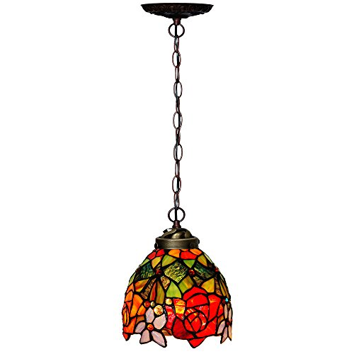 Bieye L10127 7-inches Rose Tiffany Style Stained Glass Ceiling Pendant Fixture, 1-Light (Pendant Light Glass Rose)