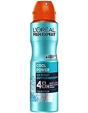 L'Oréal Men Expert środek do pielęgnacji ciała, dezodorant w sprayu dla mężczyzn z wbudowanym systemem chłodzenia, zapewnia świeżość do 48 godzin, Cool Power, 1 x 150 ml
