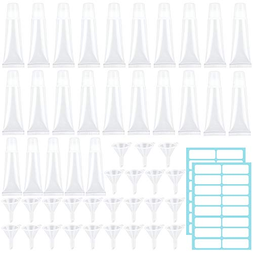 SelfTek 25Pcs Lip Gloss Tubes with 25Pcs Funnels and 28Pcs Self-Adhesive Labels 2 Sizes 5ml/10ml Soft Lip Balm Containers for DIY Lip Gloss Balm, Cosmetic and Makeup Accessories