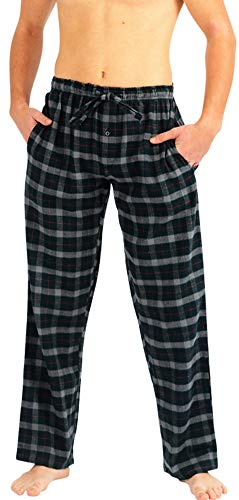 (NORTY - Mens Brushed Cotton Flannel Plaid Sleep Lounge Pajama Pant, Hunter, Red 40775-X-Large)