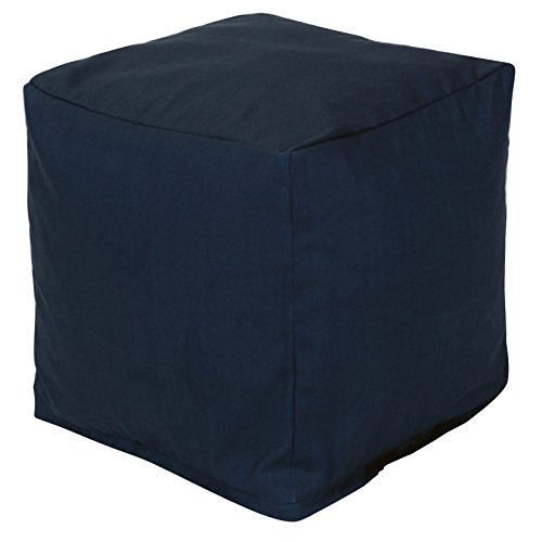 Majestic Home Goods Navy Blue Solid Indoor/Outdoor Bean Bag Ottoman Pouf Cube 17