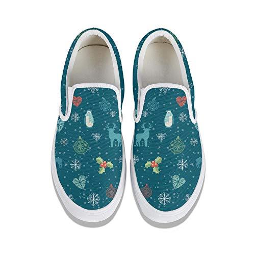 Women Cartoon Animal Penguin Deer Elk Snow Canvas Casual Shoes Versatile Non-Slip Flat Shoes