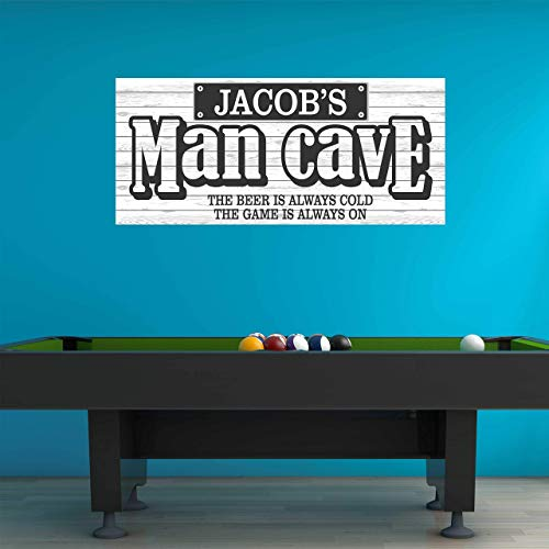Man Cave Custom Name Wall Decal - White Shiplap Personalized Name Man Cave Sports Wall Sticker - Custom Name Sign - Custom Name Stencil Monogram - Game Room Wall Decor
