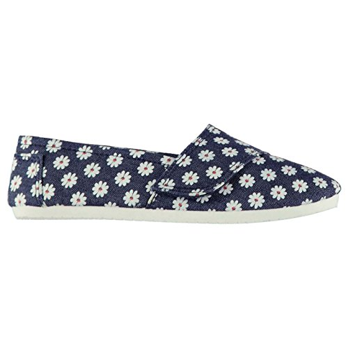 Miss Fiori Sams Kinder Mädchen Canvas Schuhe Klettverschluss Sneaker Denim Floral