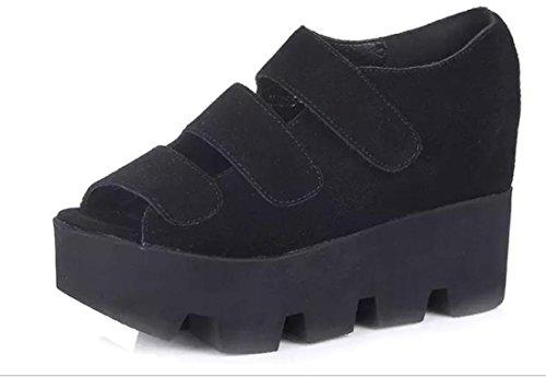 YCMDM'S Summer Party nuove donne di modo comodo Aumentare Scarpe selvatici Sandali Scarpe , black , 36