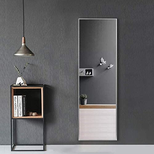 MAYEERTY Rectangle Wall-Mounted Mirror Large Full Length Dressing Mirror Bedroom Aluminum Alloy Frame Floor Mirror Hanging Leaning Against Wall 55 x16 , Silver