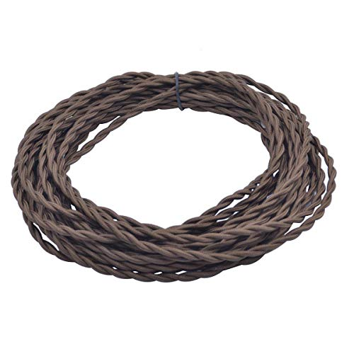 - 32.8ft Brown Twisted 18/2 Rayon Covered Wire,HESSION Antique Industrial Electrical Cloth Cord,Vintage Style Lamp Cord strands UL listed