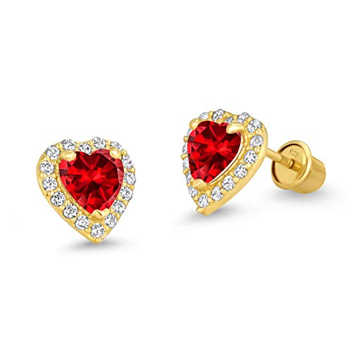 14k Gold Plated Brass Dark Red Heart Screwback Children Earrings with Sterling Silver - Gold Red Heart Earrings