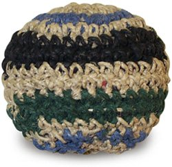 Hempster crochet footbag hacky sack. Hemp crocheted footbag, plastic pellet filled, assorted colors