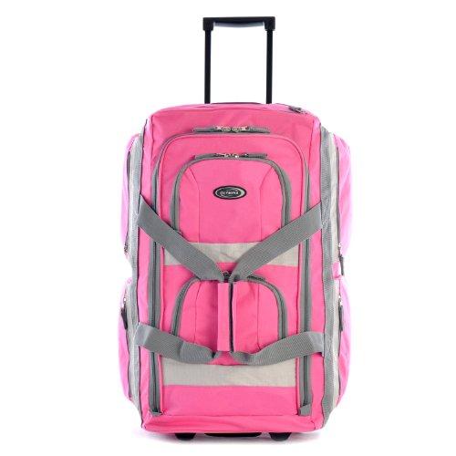 Olympia 8 Pocket Rolling Duffel Bag, Hot Pink