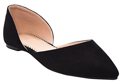 Cambridge Select Dames Gesloten Punt Slip-on Dorsay Ballet Plat Zwart Imsu