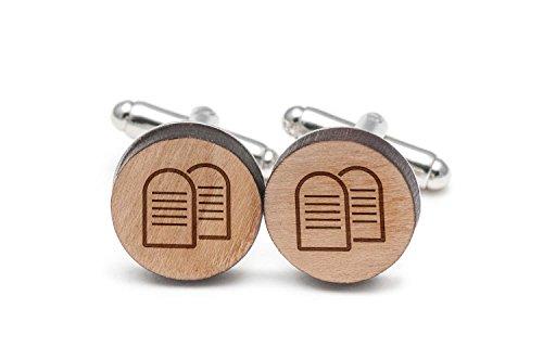 Wooden Accessories Company Ten Commandments Cufflinks, Wood Cufflinks Hand Made in The USA