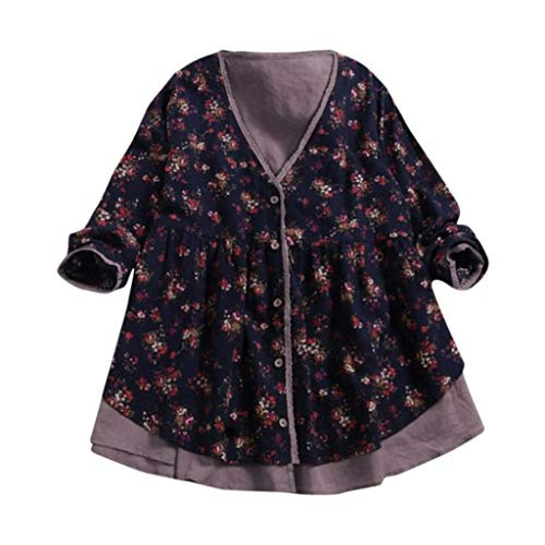 Seaintheson Women Tops Promotion Clearance, Women Loose V Neck Coat Cotton Linen Print Double-Layer Fake Two Pieces Blouse by Seaintheson Women Tops