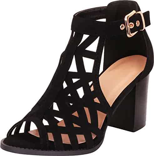 a5bf58617 Cambridge Select Women's Open Toe Laser Cutout Caged Chunky Block Heel  Ankle Bootie