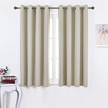 Nicetown Triple Weave Microfiber Home Thermal Insulated Solid Ring Top Blackout Curtains / Drapes for Bedroom(Set of 2,52 x 63 Inch,Beige)