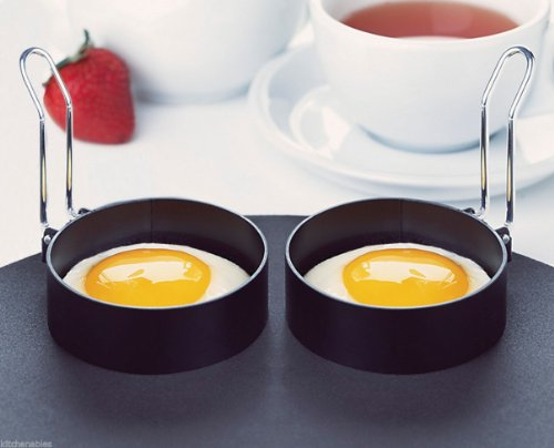 AMCO HOUSEWORKS ROUND EGG RINGS SET OF 2, NON STICK STAINLESS HANDLE, PANCAKES 2 - Amco Stainless Steel Steamer