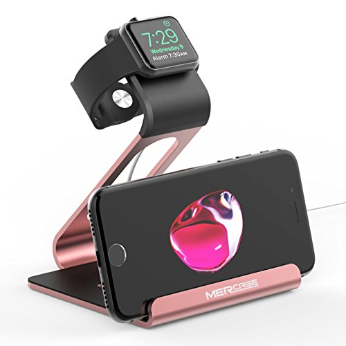 Mercase Apple Watch Stand, Night Mode Stand Charging Stand Bracket Docking Station Holder for Apple Watch Series 3 / Series 2 / Series 1 (42mm/38mm) iPhone X 8 8plus 7 7plus 6S 6plus 5 5s - Rose Gold (Edition 5s Gold Iphone)