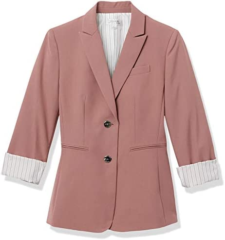 Tahari ASL Women's Two Button Striped Roll Sleeve Jacket
