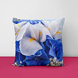 41MCNh4Ey0L. SS320 Flowers Bouquet Blue Hydrangeas Square Design Printed Cushion Cover