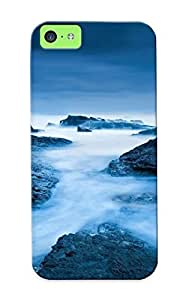Case For Iphone 5c Tpu Phone Case Cover(foggy Rocks ) For Thanksgiving Day's Gift