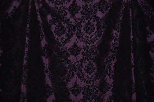Damask Taffeta Velvet Flocked Plum Dress Home Decor Apparel Curtains by The Yard