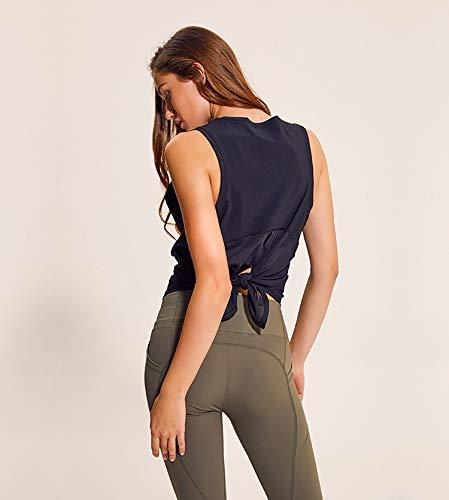 HELUNSTX Volver Camisa de entrenamiento de yoga sin mangas con ...