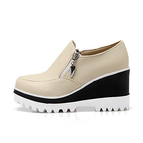 Mittler Damen Rund Zehe AllhqFashion Pumps Schuhe Cremefarben Rein Absatz PU Reißverschluss Sftxn1nq