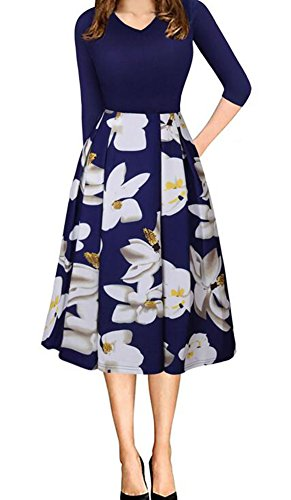 Women's Floral Vintage Patchwork Pockets Puffy Swing Casual Party Dress (M, 079Blue)