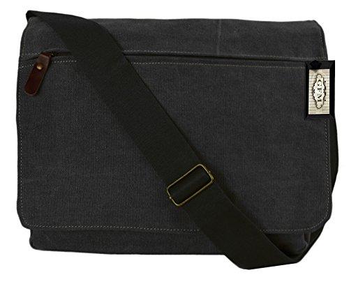 Lienzo bolso bandolera de boda de estilo clásico bolso bandolera para - School, college, Uni, oficina, viajar o para el Casual para accesorios del bebé Style 63 - Charcoal Black (#CKL63)