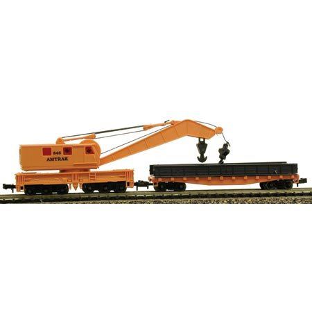 Model Power N Crane Car & Work Car w/Metal Wheels