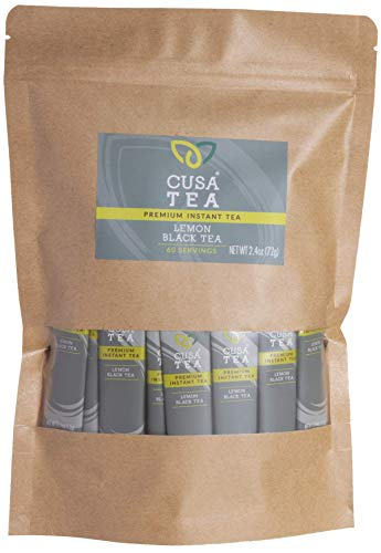 Cusa Tea: Premium Instant Tea - Organic Tea and Real Fruit and Spices - No Sugar or Artificial Flavors - Ready in Seconds - Hot or Iced Tea - Lemon Black 60 Servings from Cusa Tea