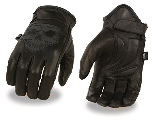 Men's Leather Motorcycle Glove w/ Reflective Skull Design & Gel Palm (X-Large)