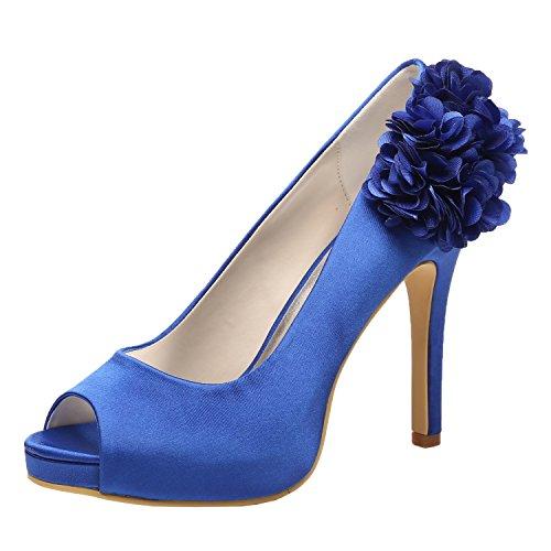 - M MULGARIA Women High Heel Pumps Platform Peep Toe Flowers Satin Evening Prom Wedding Shoes (EU 38/7B(M) US, Royal Blue)